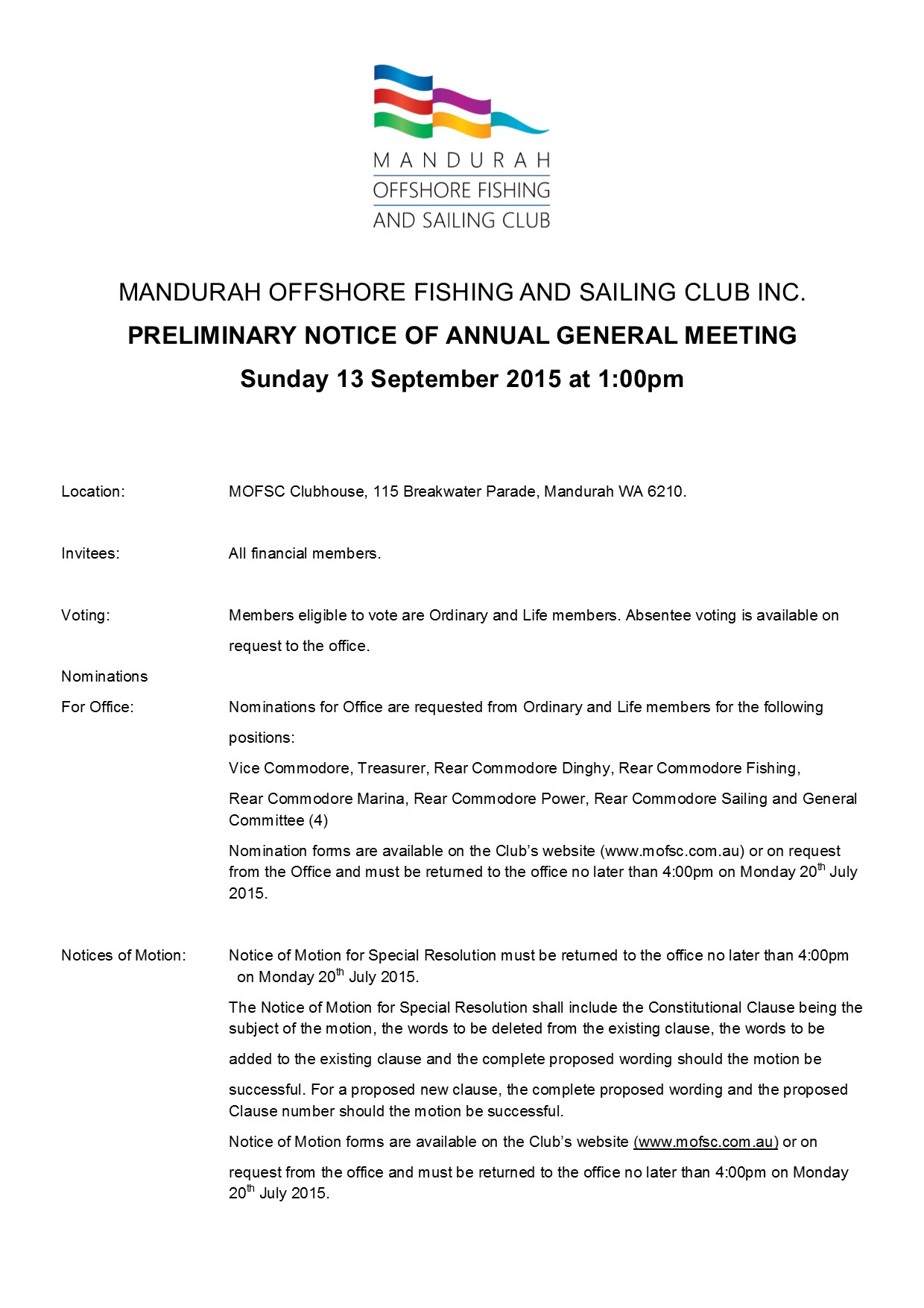 PRELIMINARY NOTICE OF ANNUAL GENERAL MEETING